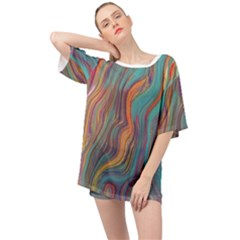 Colorful Sketch Oversized Chiffon Top by bloomingvinedesign