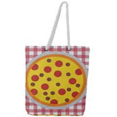 Pizza Table Pepperoni Sausage Copy Full Print Rope Handle Tote (large) by Nexatart