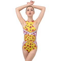 Pizza Table Pepperoni Sausage Copy Cross Front Low Back Swimsuit