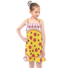 Pizza Table Pepperoni Sausage Copy Kids  Overall Dress