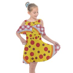 Pizza Table Pepperoni Sausage Copy Kids  Shoulder Cutout Chiffon Dress
