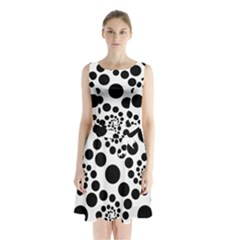 Dot Dots Round Black And White Sleeveless Waist Tie Chiffon Dress by Nexatart