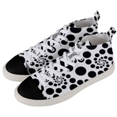 Dot Dots Round Black And White Men s Mid Top Canvas Sneakers by Nexatart