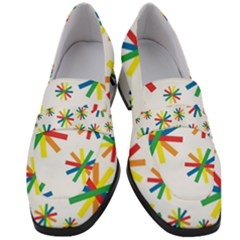 Celebrate Pattern Colorful Design Women s Chunky Heel Loafers