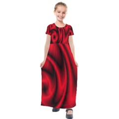 Background Red Color Swirl Kids  Short Sleeve Maxi Dress