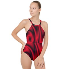 Background Red Color Swirl High Neck One Piece Swimsuit