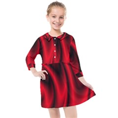 Background Red Color Swirl Kids  Quarter Sleeve Shirt Dress