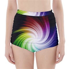 Rainbow Swirl Twirl High-waisted Bikini Bottoms by Nexatart