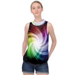 Rainbow Swirl Twirl High Neck Satin Top