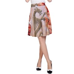 Wonderful Chinese Dragon With Flowers On The Background A-line Skirt by FantasyWorld7