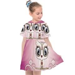 Cute Little Owl With Hearts Kids  Sailor Dress by FantasyWorld7