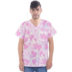 Valentine Background Hearts Bokeh Men s V Neck Scrub Top
