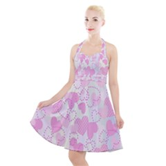 Valentine Background Hearts Bokeh Halter Party Swing Dress