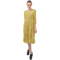 Tribal Maze Gold Midi Chiffon Dress