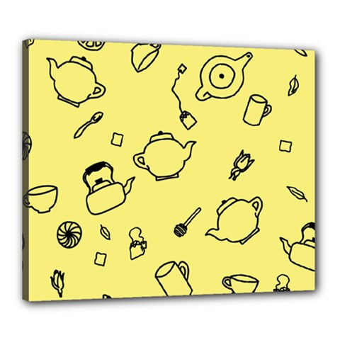 Tea Seamless Pattern Teatime Canvas 24  X 20  (stretched)