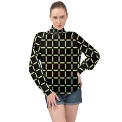 Pattern Digital Seamless Texture High Neck Long Sleeve Chiffon Top
