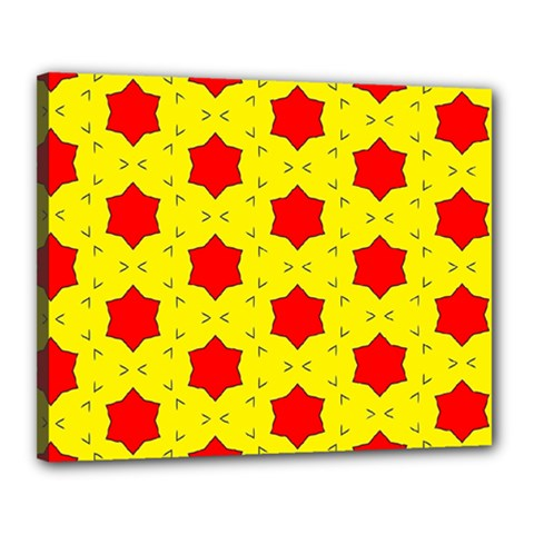 Pattern Red Star Texture Star Canvas 20  X 16  (stretched) by Nexatart