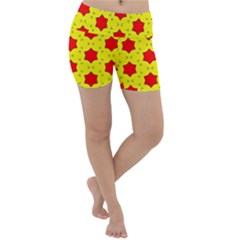 Pattern Red Star Texture Star Lightweight Velour Yoga Shorts