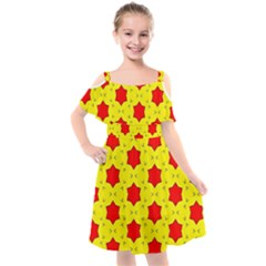 Pattern Red Star Texture Star Kids  Cut Out Shoulders Chiffon Dress by Nexatart