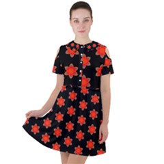 Flower Pattern Pattern Texture Short Sleeve Shoulder Cut Out Dress