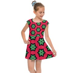 Pattern Flower Pattern Seamless Kids  Cap Sleeve Dress