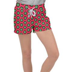 Pattern Flower Pattern Seamless Women s Velour Lounge Shorts