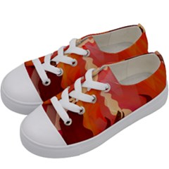 Fire Abstract Cartoon Red Hot Kids  Low Top Canvas Sneakers by Nexatart