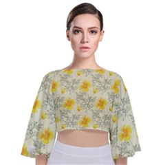 Floral Background Scrapbooking Tie Back Butterfly Sleeve Chiffon Top
