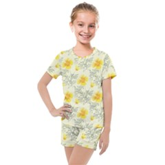 Floral Background Scrapbooking Kids  Mesh Tee And Shorts Set