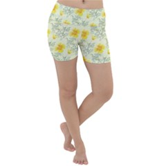 Floral Background Scrapbooking Lightweight Velour Yoga Shorts