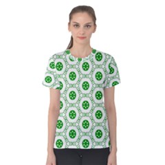 White Background Green Shapes Women s Cotton Tee