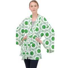 White Background Green Shapes Velvet Kimono Robe