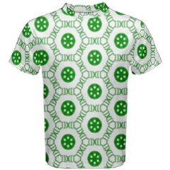 White Background Green Shapes Men s Cotton Tee