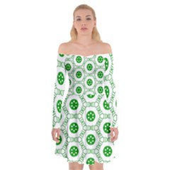 White Background Green Shapes Off Shoulder Skater Dress