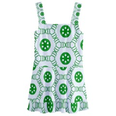 White Background Green Shapes Kids  Layered Skirt Swimsuit