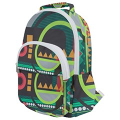 Background Colors Abstract Shapes Rounded Multi Pocket Backpack