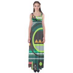 Background Colors Abstract Shapes Empire Waist Maxi Dress