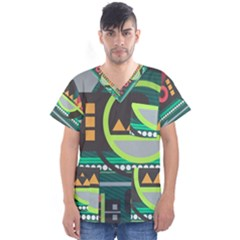 Background Colors Abstract Shapes Men s V Neck Scrub Top