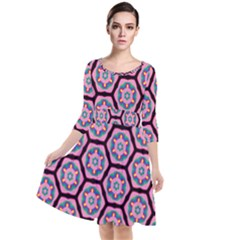 Background Pattern Tile Quarter Sleeve Waist Band Dress
