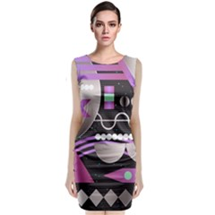 Background Abstract Geometric Classic Sleeveless Midi Dress