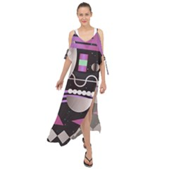 Background Abstract Geometric Maxi Chiffon Cover Up Dress