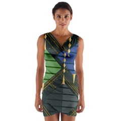 Background Colors Non Seamless Wrap Front Bodycon Dress