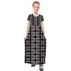 Pattern Black Background Texture Kids  Short Sleeve Maxi Dress by Nexatart