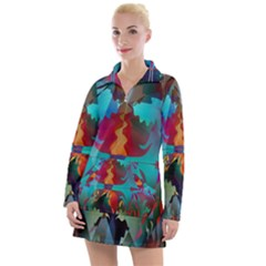 Background Sci Fi Fantasy Colorful Women s Long Sleeve Casual Dress