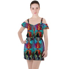 Background Sci Fi Fantasy Colorful Ruffle Cut Out Chiffon Playsuit