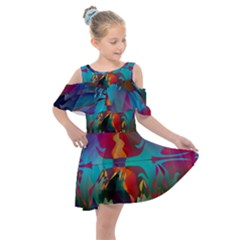 Background Sci Fi Fantasy Colorful Kids  Shoulder Cutout Chiffon Dress