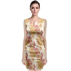 Scrapbook Floral Decorative Vintage Classic Sleeveless Midi Dress