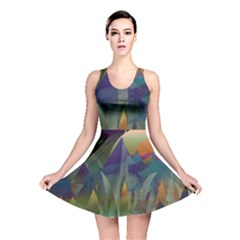 Mountains Abstract Mountain Range Reversible Skater Dress