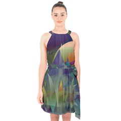 Mountains Abstract Mountain Range Halter Collar Waist Tie Chiffon Dress