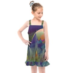 Mountains Abstract Mountain Range Kids  Overall Dress